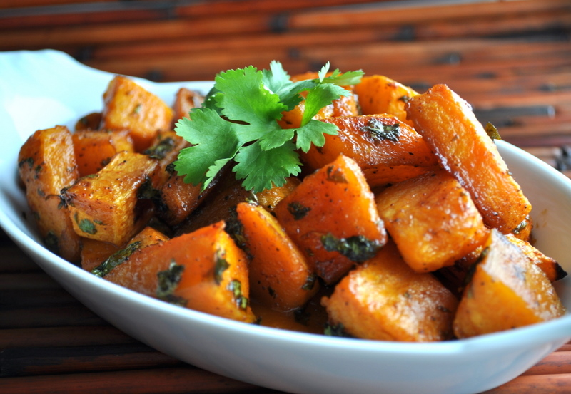 Cilantro-Honey Roasted Butternut Squash | KarmaCucina